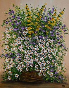 Daisies Wild Flowers IMPASTO Original Oil Painting Europe Artist Still Life #Impressionism