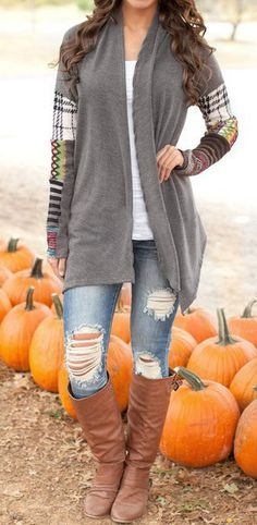 We have got this for you,a fall essential in your wardrobe!    ---CSY111 Details: Special sleeve splicing Open front Comfy and soft Fabric: Cotton,Spandex Free