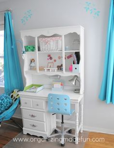 Gray & turquoise bedroom - love the spray painted desk chair! (plus other photos of girl's room remodel)