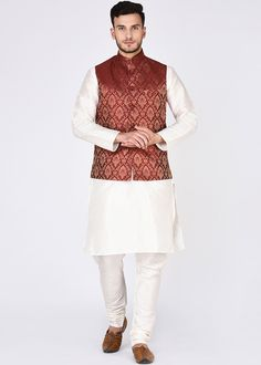 Readymade Off-White Kurta Pajama With Nehru Jacket Nehru Jacket For Men, Nehru Jackets, White Kurta, Indian Boy, Indian Men Fashion, Jackets Online, Men's Collection, Wedding Suits, Indian Dresses