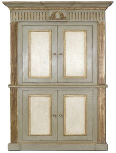 Armoire #214-Sage Premiere Finish; Italian Cream Panels; Boulle & Gold Accents