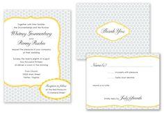 grey, white and yellow wedding invitation