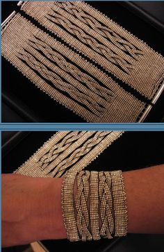 "This design is called ""Bonds of Love""; a cuff style bracelet based on a Victorian technique - split loom weaving. The solid base is formed and then ""split"" into smaller bands, which are braided on the loom and then brought back together into another solid base. (No reason I can't do this with off the loom bead weaving.--PH)"
