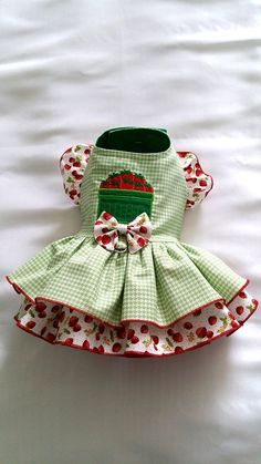 Small Dog clothing Strawberry summer Dog Dress Harness Dog