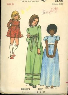 Sewing Patterns for Girls Vintage 1970s Butterick 6919 Girls Retro High Waisted Dress Sewing Pattern size Girls 6 by SewMrsP for $5.50