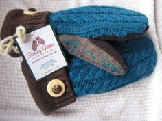 Sweaty Mitts - Upcycled Wool Sweater Mittens Women's Recycled Handmade in Wisconsin - Brown Turquoise Maroon $35