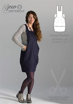 Scoop Pinafore sewing pattern for women. Easy to make with large scooping pockets and a pretty tulip shaped skirt. Available on paper or to download from the Sew Different website shop