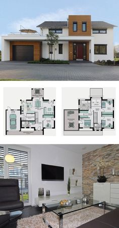 Modern detached house with garage, gallery and saddle roof Architecture - Grundriss Fertighaus Köln STREIF Haus Ideen - HausbauDirekt.de / Dekopub - Modern detached house with garage, gallery and saddle roof Architecture – floor plan prefabricate - Modern Farmhouse Plans, Modern House Plans, Modern House Design, House Floor Plans, Modern Garage, Roof Architecture, Modern Architecture House, Casas The Sims 4, Prefabricated Houses
