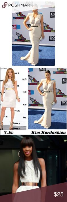 COMING SOON✨ Gold Metal Mirror Belt! A fashion must have! Worn by J Lo, Kim Kardashian, Kelly Rowland and several other celebrity figures. Turn a simple dress into something fabulous with this belt! Accessories Belts