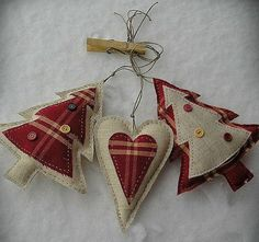 Christmas decorations - fabric hearts & Xmas trees