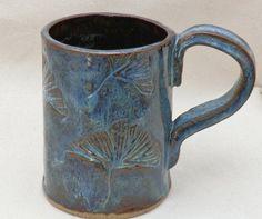 Stoneware Large Coffee MUG GINGKO Design in BLUE by LisaMelitaArt, $22.50