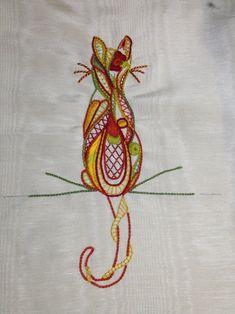 Image - chat en glazig - Blog de brodeanne - Skyrock.com Crewel Embroidery Kits, Vintage Embroidery, Embroidery Patterns, Chat Crochet, Thread Art, Craft Gifts, Blackwork, Needle Felting, Needlework