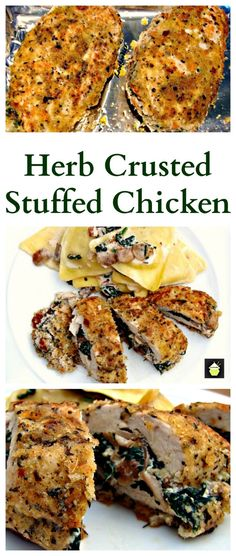 Herb Crusted Stuffed Chicken Breast. Uses fresh ingredients, healthy and ABSOLUTELY PERFECTLY DELICIOUS! oh yum!!