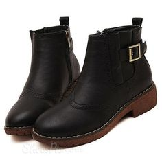 awesome Shoespie Buckles Flower Side Decoration Flat Boots