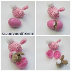 These crochet amigurumi bunnies would be a lovely surprise when they were discovered in a plastic egg. Amigurumi Easter Egg Bunny - Media - Crochet Me