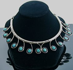 Vintage J. Toadlena Vintage Navajo Sterling Silver & Turquoise necklace by SITFineJewelry on Etsy