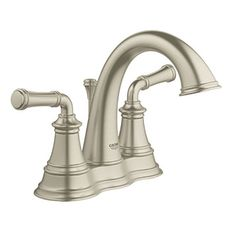 GROHE Gloucester Brushed Nickel 2-Handle 4-in Centerset WaterSense Bathroom Faucet (Drain Included)