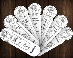 Popples Happy Birthday 7 Coloring Bookmarks DIY Party Favors Printable Instant Download Digital PDF JPEG  INSTANT PRINTABLE BOOKMARKS – OUTLINE VERSION  Welcome to Printables Baby! This list will give you a printable set of 7 bookmarks with:  -...