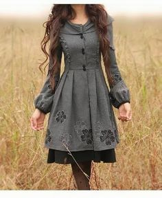 Warm floral dark grey dress for winter. . . click on pic