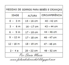 FALANDO DE CROCHET: GORRO DE CROCHE PARA BEBE COM TABELA DE MEDIDA E GRÁFICO