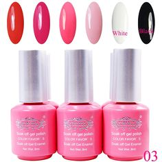 Perfectsummer 6pcs Mixed Color UV Gel Polish Soak Off Nail Art 8ml/pc *** Click image for more details.