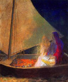 alone-in-the-lamplight:    Odilon Redon (1840-1916)  Boat with Two Figures, 1902