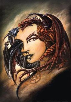 two dragons... or a woman's face  (perspective)