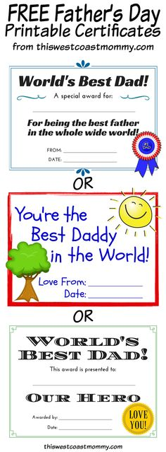 Fathers Day Worlds Greatest Dad Printable Certificate Certificate - new preschool certificate templates free