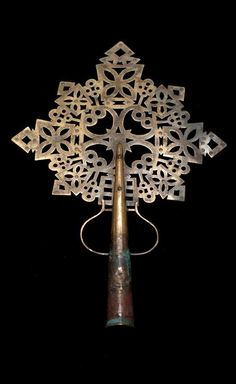 Africa | Processional cross from Ethiopia | Cast brass alloy | Probably 18th - 20th century