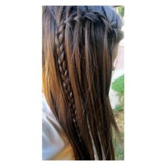 half up braid Hairstyles for Long Hair ❤ liked on Polyvore featuring beauty products, haircare, hair styling tools, hair, cabelos, hair styles and hairstyles
