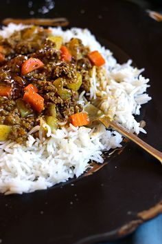 South African Curry and Rice - **I made with Jamaican curry and mango chutney, added peas and zucchini
