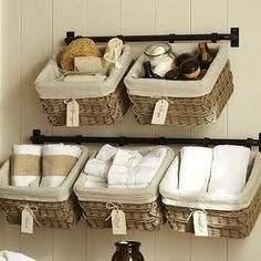 Hannah Wall Basket Storage System LargeTowel Bar - Our Hannah system provides compact, versatile storage that frees up floor space. Combine ...