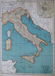 1938 Antique MAP of ITALY Map Vintage 1930's Travel Gallery Wall Art  Map 3071