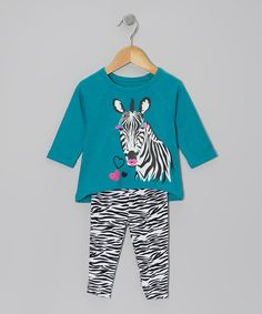 Take a look at this Turquoise & Black Zebra Tunic & Leggings - Infant & Toddler by Kidtopia on #zulily today!