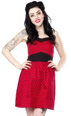 SWITCHBLADE STILETTO PRINCESS DRESS POLKA DOTS RED - You'll love the cut and feel of this Princess Dress from Switchblade Stiletto. This cotton spandex dress features a comfortable fit with gathered skirt and back zip for a sure fit.
