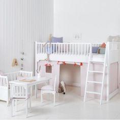 Kindermöbel   Oliver Furniture Halbhohes Hochbett KIDS, weiß, 90x200cm, Höhe: 131cm   Ihr großer Kindermöbel Onlineshop