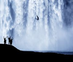 Jump by Stijn Dijkstra on 500px.... #black and white #people #silhouette #sport #water #waterfall
