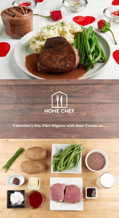 Valentine's Day Filet Mignon with Sour Cream and Chive Mash With Red Wine-Chocolate Bordelaise, Green Beans, and Chocolate Mousse