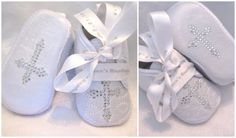 Baby boys Christening Baptism shoes boots crystal cross personalized bespoke name date on ribbon 3 sizes