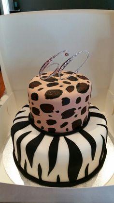 Leopard / zebra print cake for a friend