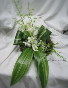Centerpiece: Aspidistra 'bow' and Dendrobium Orchids   by Rose of Sharon Floral Designs