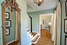 Blythe Blue Benjamin Moore Paint Color - Upstairs Bathroom  http://www.houzz.com/photos/766597/Benjamin-Moore-Wythe-Blue-Foyer-traditional-entry-dc-metro