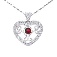 Red Ruby, Heart Shaped, Filigree Jewelry, 925 Sterling Silver, Heart Pendant, With 18'' Chain, Valentines Day Collection, Love Pendant, by JSDiamondJewelry on Etsy
