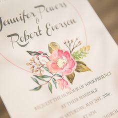 spring pink flower foiled pistil wedding invitations EWFI007