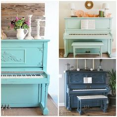Painting that ugly orange thing. Pianos in the Home - Blue Painted Pianos Furniture Projects, Home Furniture, Home Projects, Painted Pianos, Painted Furniture, Living Room Accents, Living Room Decor, Vieux Pianos, Piano Restoration