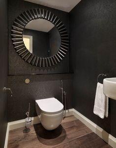 Bathroom modern: 106 pictures and examples of modern bathroom design black-bad-wooden floor-wallpaper-baroque-pattern-large Round-wandspiegel