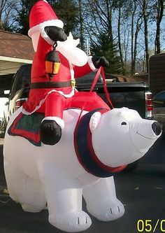airblown inflatable santa on a polar bear christmas decoration ebay christmas and halloween and easter and thanksgiving wish want pinterest polar - Polar Bear Inflatable Christmas Decorations