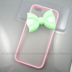 Bow IPhone 5 Case, Iphone 5 case, Pink iphone 5 Case,Mint Green Bowknot Iphone 5 Frosted Translucent case