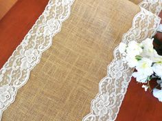 Burlap table runner with vintage ivory lace by DaniellesCorner, $21.00