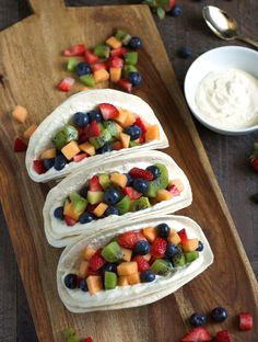 Fruit Salad Tacos with Honey Whipped Cottage Cheese